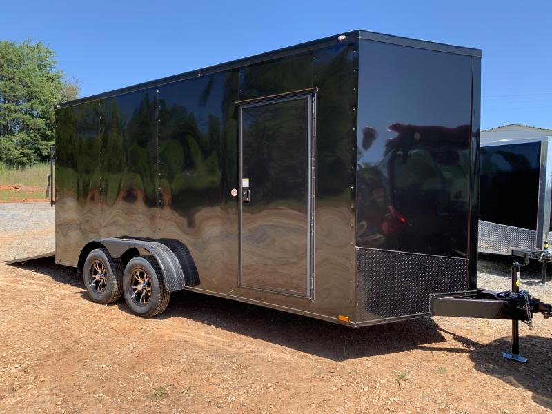 "2021 Spartan 7x16 +2ft V-nose/12"" extra height Blackout trailer"
