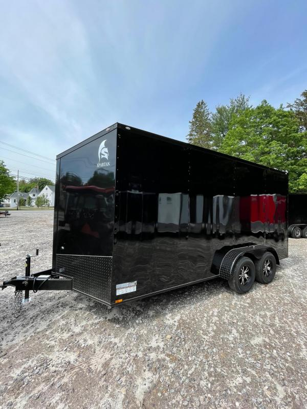 """2021 Spartan 7x16 +2ft V-nose/BLACKOUT/12"""" extra height"""