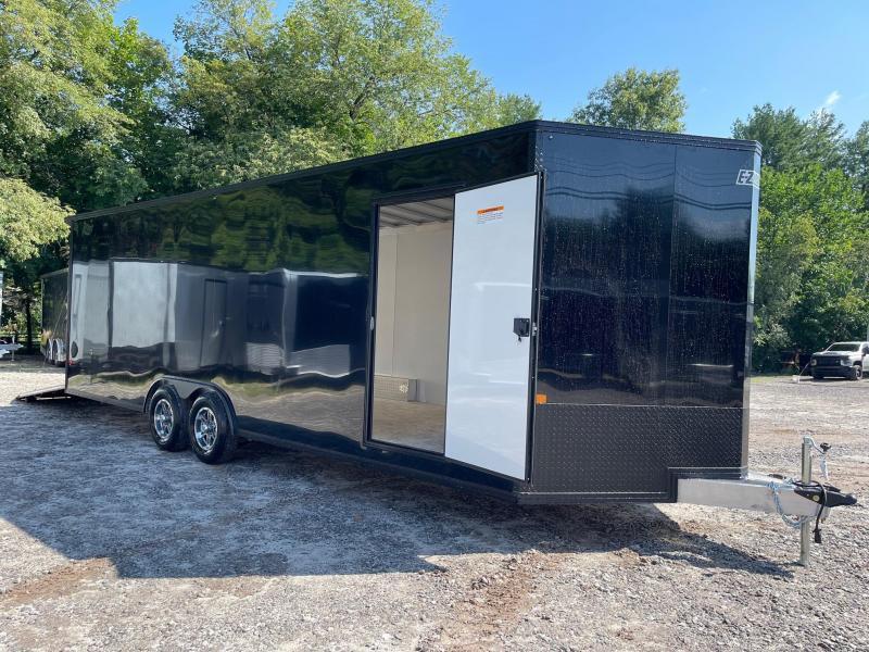 "2021 BLACKOUT EZ Hauler 8.5x24 +3 ft V-nose/ FULLY Aluminum Car Hauler/9990gvwr/12"" extra height"