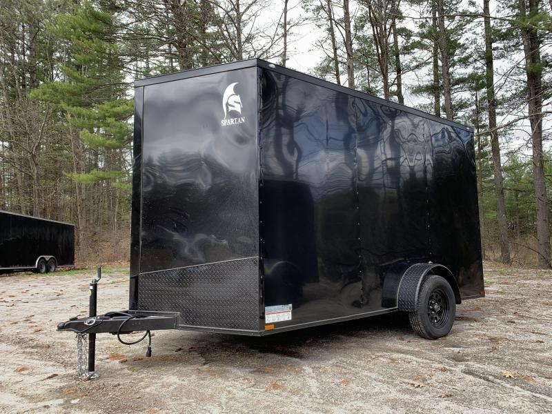"""*DING SALE*2021 Spartan 7X12 +2ft Vnose/12"""" extra height/blackout/braked axle/undercoated/3500gvwr"""