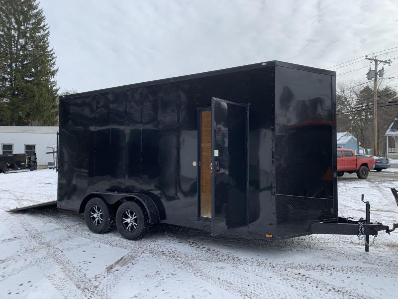 """2021 Spartan 7x16 +2ft V-nose/18"""" extra height Blackout trailer"""