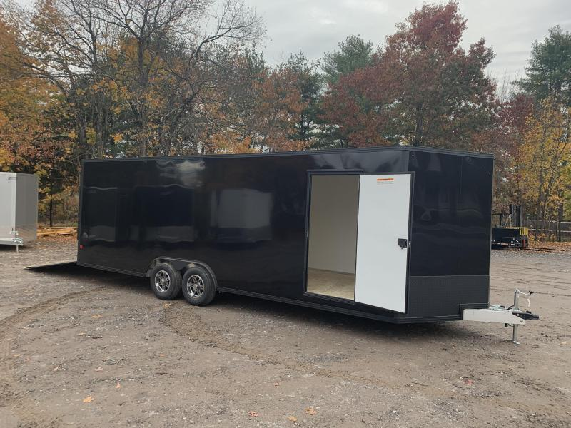 "2021 EZ Hauler 8.5x24 +3 ft V-nose/Aluminum Car Hauler/9990gvwr/12"" extra height/BLACKOUT"