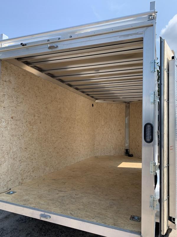 "2021 EZ Hauler 7X14 +3 ft V-Nose Aluminum trailer / 6"" extra height/ Ultimate Contractor/Barn doors"