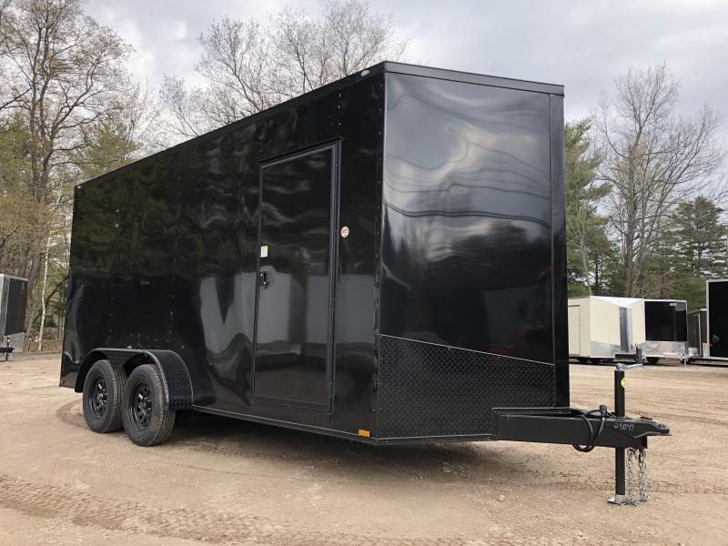 "2021 Spartan 7x16 +2ft V-nose/BLACKOUT/12"" extra height/7000gvwr"