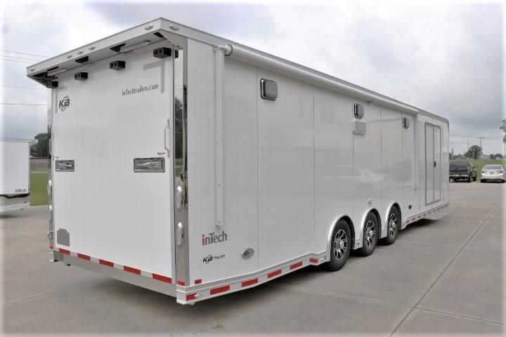 """2019 34' Custom inTech w/ Awning, 60"""" Dbl Door, Stereo, Wheel Well Cabinet & More"""