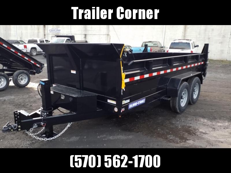 2021 Sure-Trac 7X14 14K - SCISSOR - HYDRAULIC JACK - RAMPS - TARP Dump Trailer
