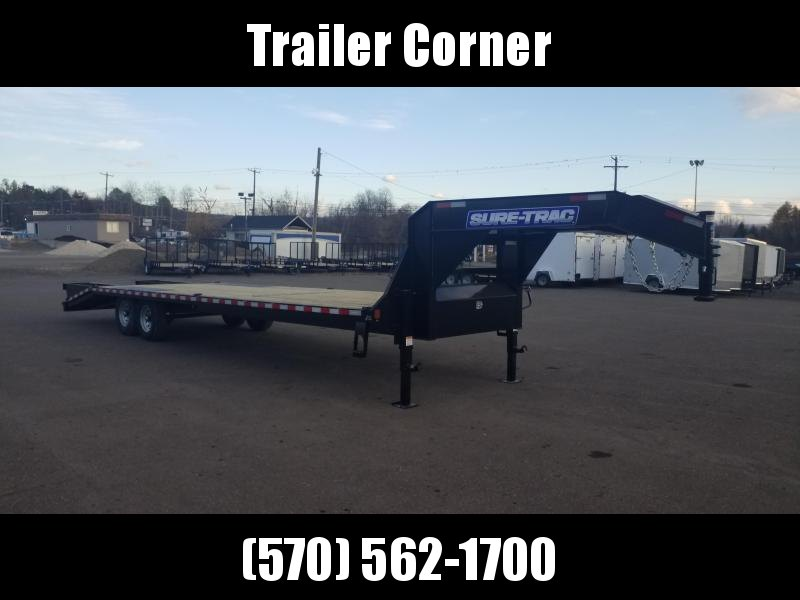 2021 Sure-Trac 15GN 25+5 KNEE RAMPS Flatbed Trailer