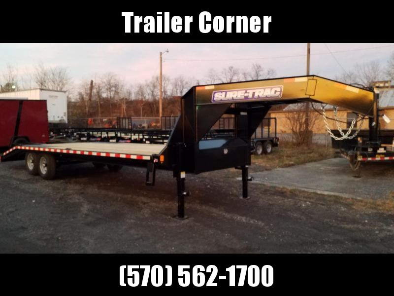 2021 Sure-Trac 15GN 20+5 KNEE RAMPS Flatbed Trailer