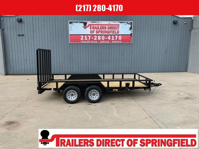 2021 Doolittle 77X14 Pipe Top Utility Trailer 7K GVWR 5' Mesh Gate Spare Tire Carrier