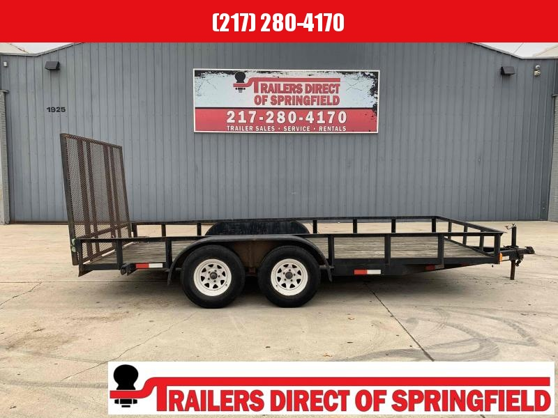2001 Double L Utility Trailer 16' Tandem Axle 7000 GVWR Ramp Gate