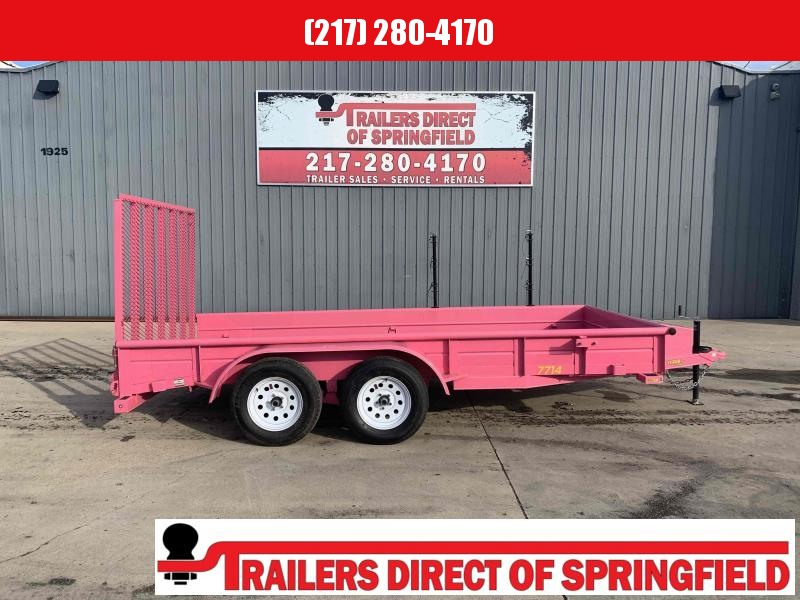 2019 Doolittle 77X14 Pink Steel Side Utility Trailer 7K GVWR 4' Mesh Gate 2' Dove Tail D Rings Upgraded Wheels