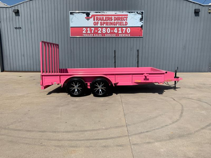 2019 Doolittle 77X14 Steel Side Utility Trailer 7K GVWR 4' Mesh Gate 2' Dove Tail D Rings Upgraded Wheels