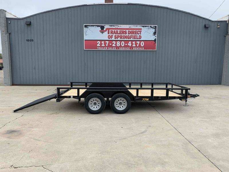 2021 Doolittle 77X14 Pipe Top Utility Trailer 7000 GVWR Double Electric Brakes 5' Mesh Gate w/ Spring Assist