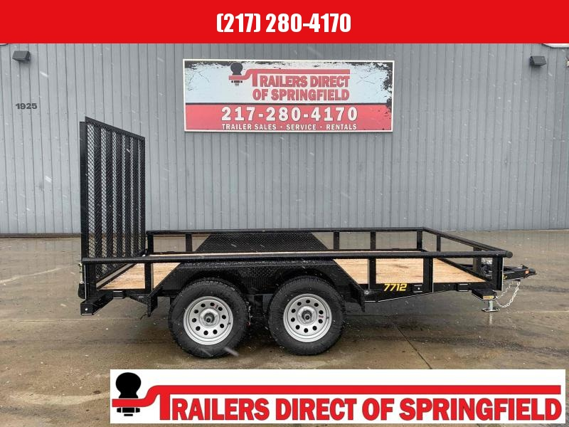 2021 Doolittle 77X12 Pipe Top Utility Trailer 7000 GVWR 5' Mesh Gate