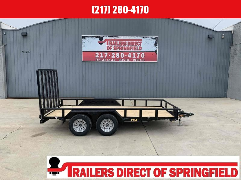 2021 Doolittle 77X14 Pipe Top Utility Trailer 7000 GVWR 5' Mesh Gate w/ Spring Assist LED LIGHTS Radial Tires Double Electric Brakes