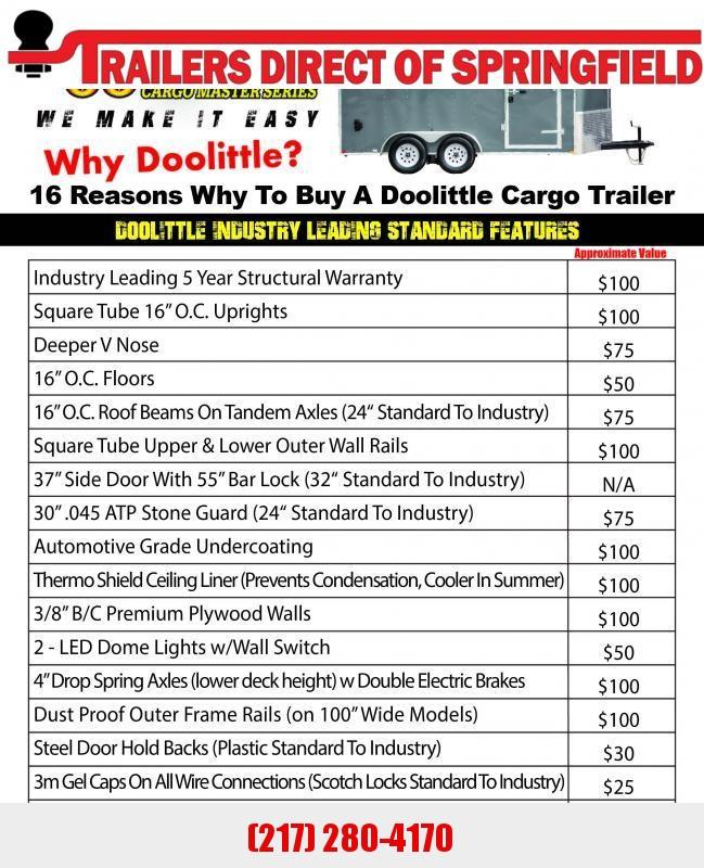 2020 Doolittle 7X16 Cargo Trailer Tandem Axle 7000 GVWR Ramp Door