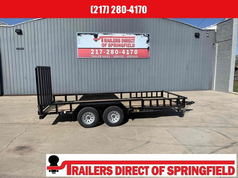 2021 Doolittle 77X16 Pipe Top Utility Trailer ATV Side Ramps 7K GVWR 5' Mesh Gate
