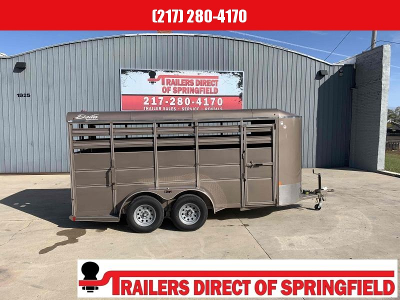2020 Delta Arizona Beige 6 X 16 Stock Trailer Tandem Axle 8190 GVWR