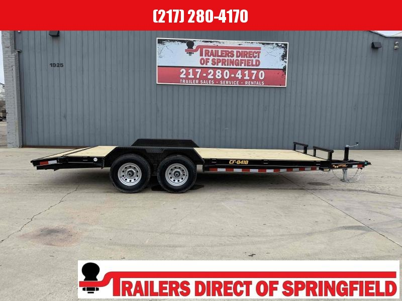 2021 Doolittle 84X18 (16+2) CF Equipment Trailer 9800 GVWR 2' Wood Dovetail Self Store Ramps Double Electric Brakes