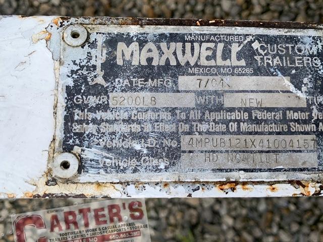 USED 2004 Maxwell 76 x 12 Utility Trailer 5200 LB. Axle