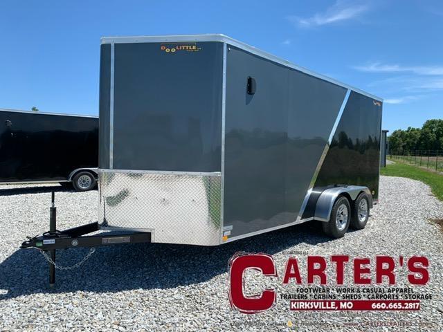 2021 Doolittle Trailer Mfg 7 x 16 Enclosed Cargo Trailer REAR RAMP DOOR + 2 TONE EXTERIOR + ALUMINUM WHEELS