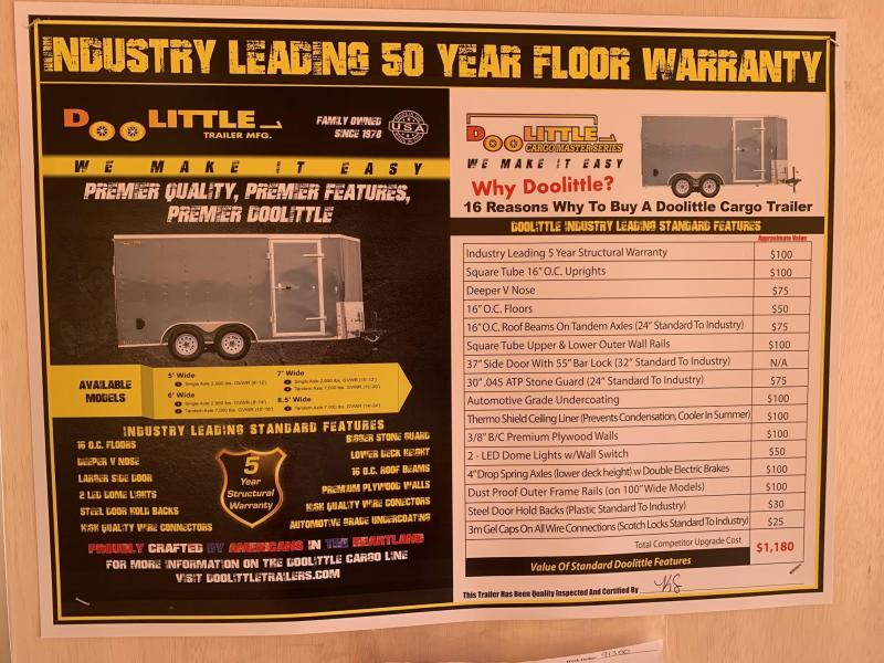 2021 DOOLITTLE TRAILER MFG 7 X 14 CARGO T/A REAR RAMP DOOR + UTV PACKAGE