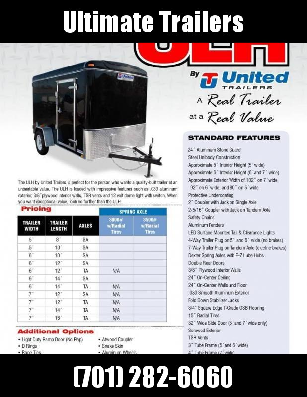 2020 United Trailers ULH Series 6x10 Enclosed Cargo Trailer