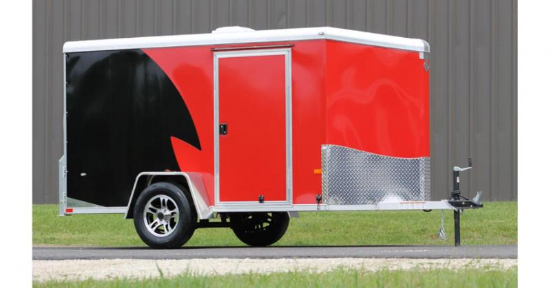 2022 NEO Trailers NAMR Round Top Slant Nose Motorcycle Trailer