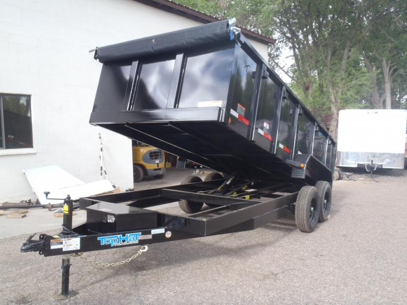 7' X 16' 14000 lb G.V.W. Dump Trailer with 3' Sides and Tarp