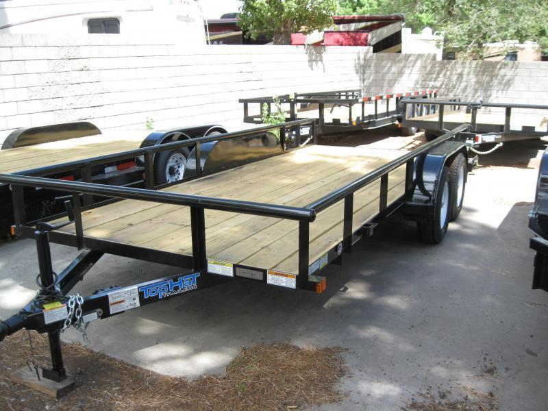 83X16 Utility Trailer  Pipe Rail