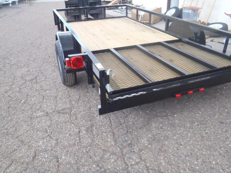 77X12 NO Brakes Angle top Rail with Ramp Gate Utility Trailer