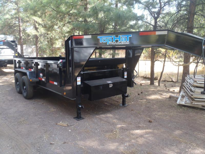 7' X 16'  2' Sides 14000 lb G.V.W. Gooseneck Dump Trailer
