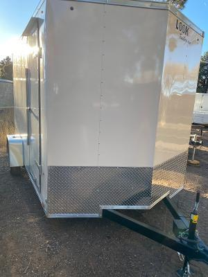 7x12 STLC V-Nose Cargo Ramp Side Door 7' Tall