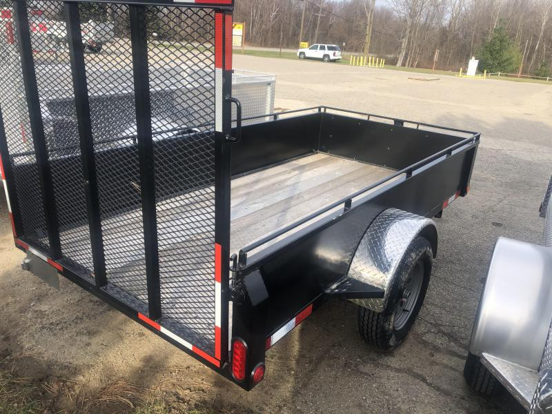 2021 5X10 Solid Side Single Axle Steel Utility