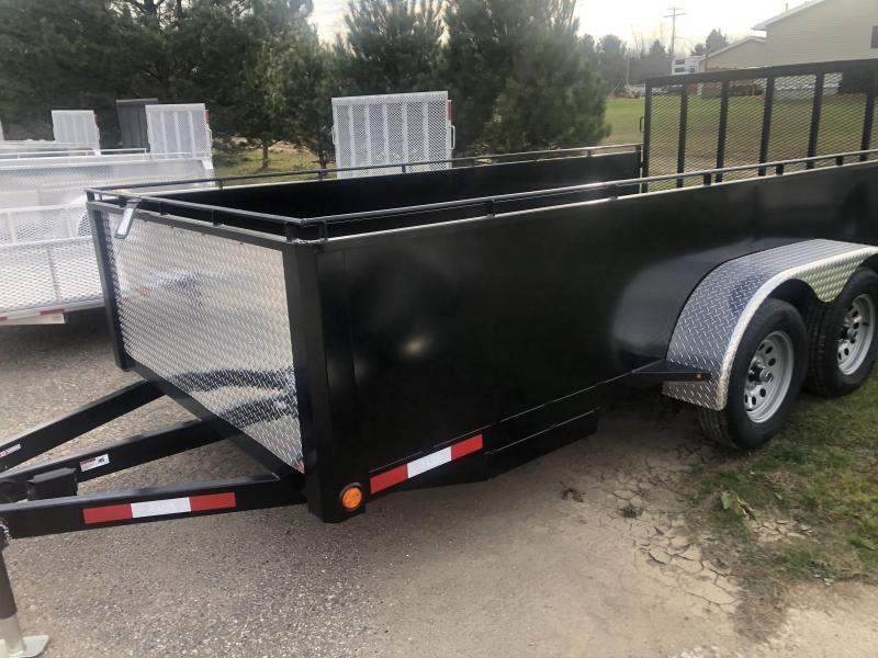 2021 7X16 High Solid Side Tandem Axle Steel Utility