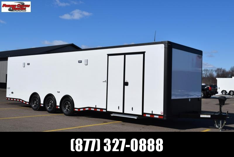 BRAVO 32' STP ENCLOSED RACE TRAILER w/ TRIPLE 6000# AXLES