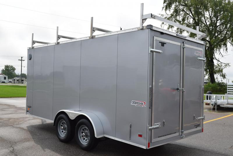 BRAVO 7x16 SCOUT ENCLOSED CONTRACTOR TRAILER w/ REAR DOUBLE DOORS
