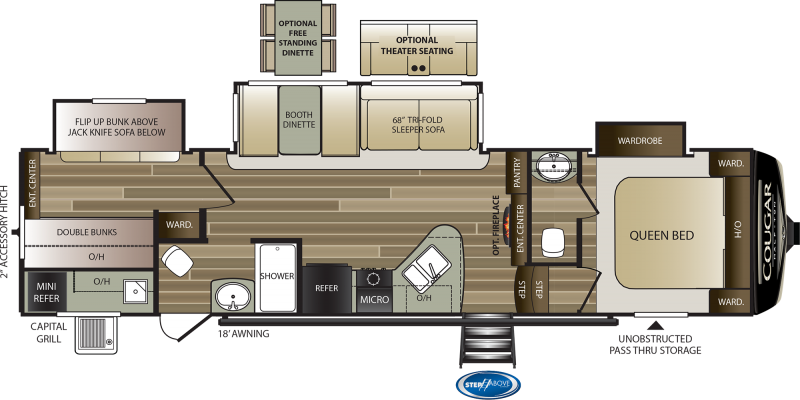 2022 Keystone RV Cougar Half-Ton 32BHS Fifth Wheel Campers RV