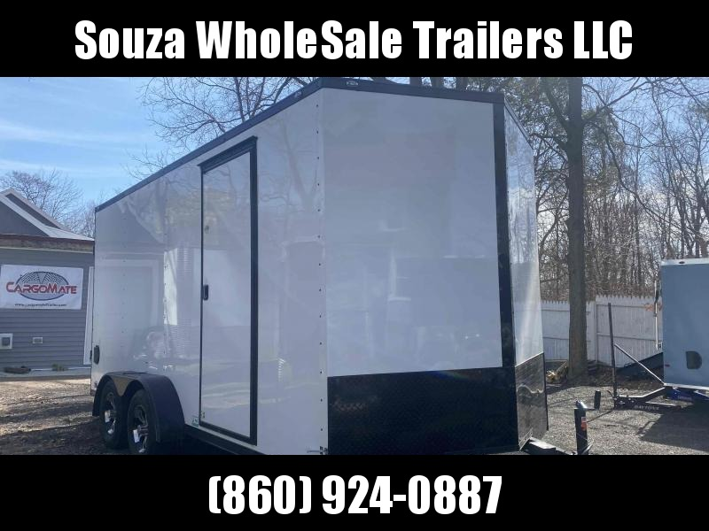 "2021 Cargo Mate 7X16 W/12 INCH EXTRA HIGHT W/RAMP DOOR 78""HIGHT Enclosed Cargo TrailerBLACK OUT PKG ALUMINUM RIMS"