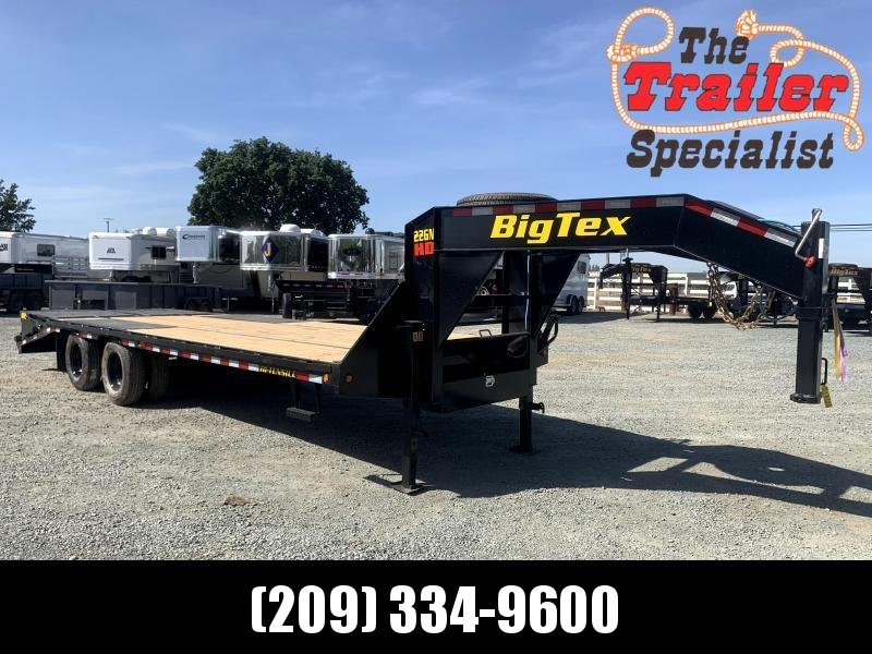 "New 2022 Big Tex 22GN-20+5MR 102"" x 20' + 5' 23900 GVW Flatbed Equipment Trailer"