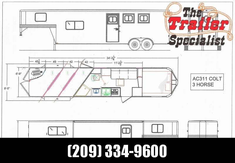 *ON ORDER* NEW 2021 Lakota Colt AC311 3 Horse 11' Living Quarters Horse Trailer