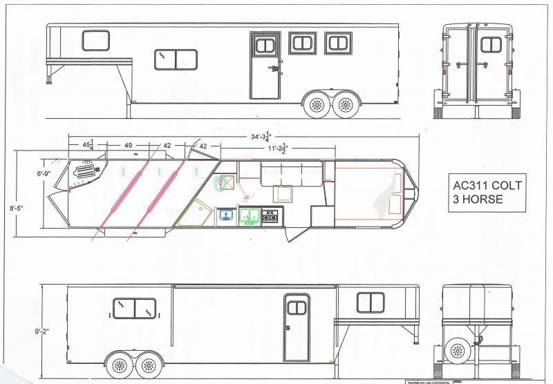 NEW 2021 Lakota Colt AC311 3 Horse 11' Living Quarters Horse Trailer