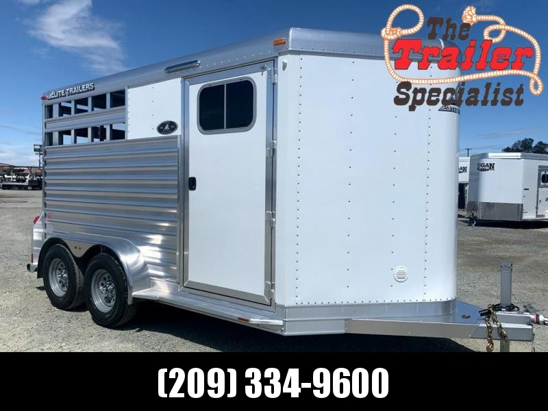 NEW 2021 Elite Trailers 2 Horse Bumper Pull Stock Combo Trailer