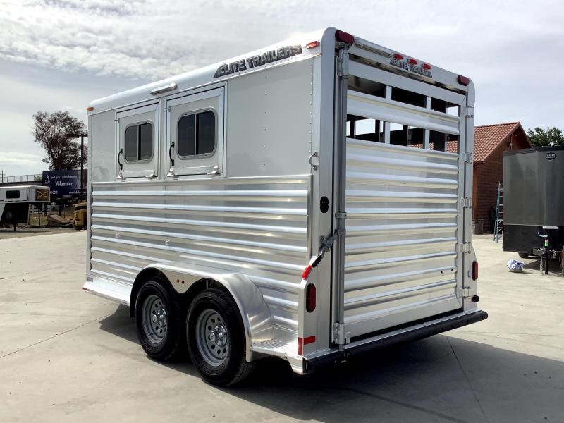 NEW 2021 Elite Trailers 2 Horse Bumper Pull Stock Combo Trailer