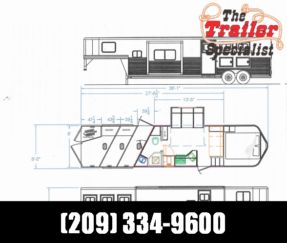 *ON ORDER* NEW 2021 Lakota C8313SR Charger 3 Horse 8' Height 13' Living Quarters with Slideout Horse Trailer