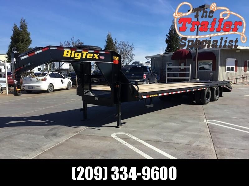 "New 2021 Big Tex 22GN-25+5MR 102"" x 25' + 5' 23900 GVW Flatbed Equipment Trailer"
