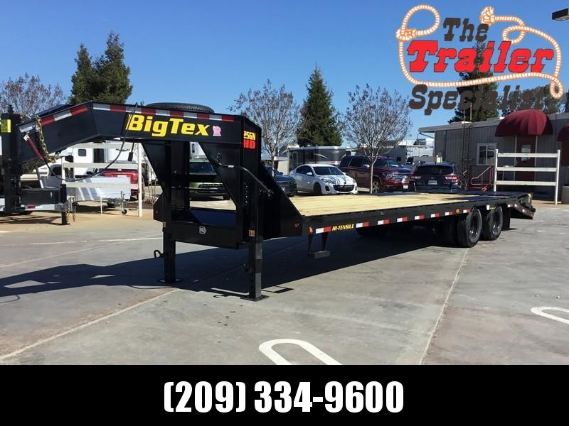 "New 2021 Big Tex 25GN-25+5MR 102"" x 25' + 5' 25900 GVW Flatbed Equipment Trailer"