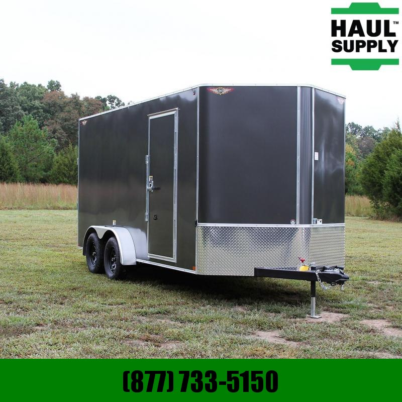 H and H Trailer 7X16 7K V-nose XXT Cargo Trailer Rivetles