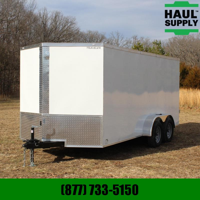 Traveler Cargo 7X16 7K V-NOSE CARGO TRAILER DOUBLE REAR