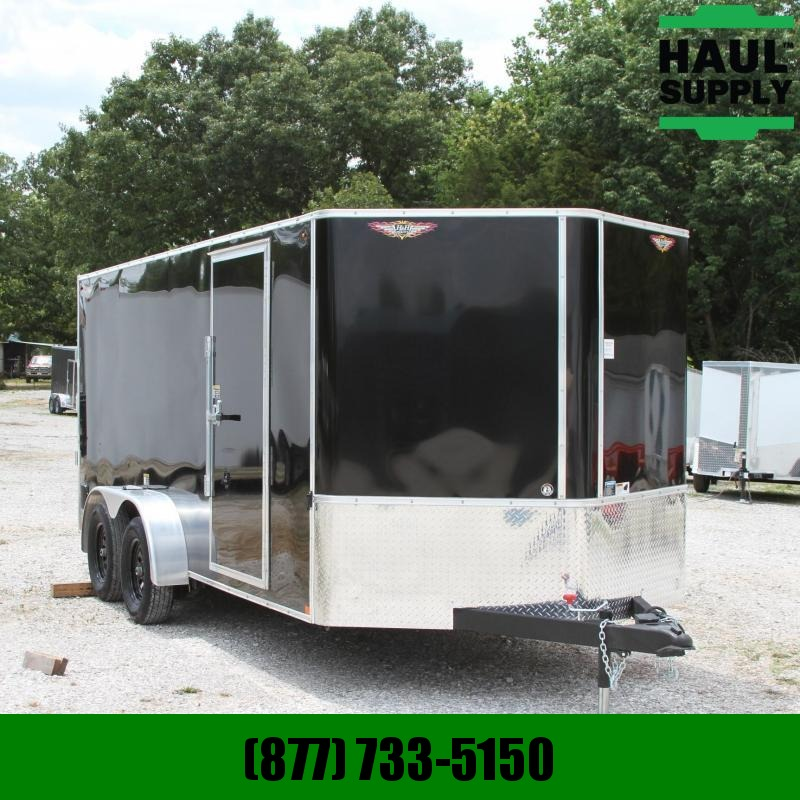 H and H Trailer 7X16 7K V-nose Cargo Trailer Rear Ramp Po